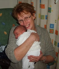 Jane with new born baby